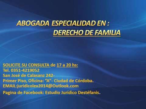 ABOGADA: ASESORAMIENTO Y PATROCINIO EN TODOS LOS TEMAS DEL DERECHO DE FAMILIA.