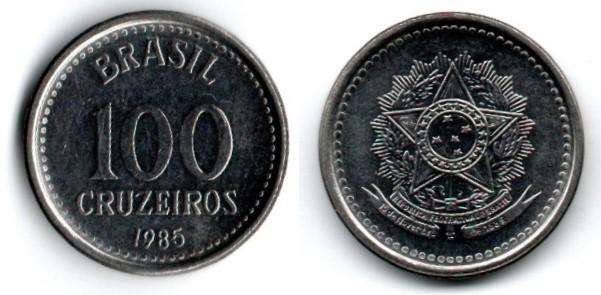 BRASIL. MONEDA. 100 CRUZEIROS. 1985. KM 595. 162 M UNIDADES. ESTADO 8 DE 10. VALOR 1000