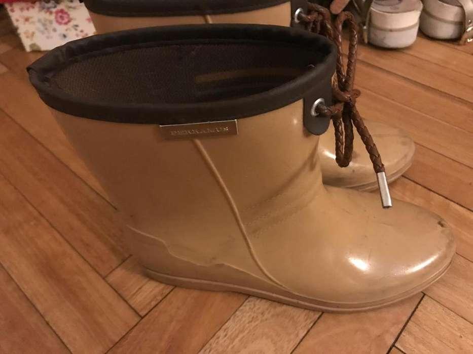 Botas de lluvia cortas marca perramus mujer talle 37 color camel