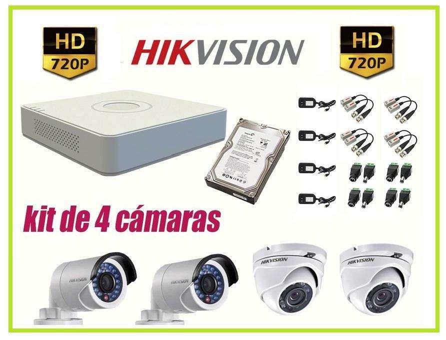 Kit 4 Cámaras Seguridad HikVision HD 720p COMPLETO