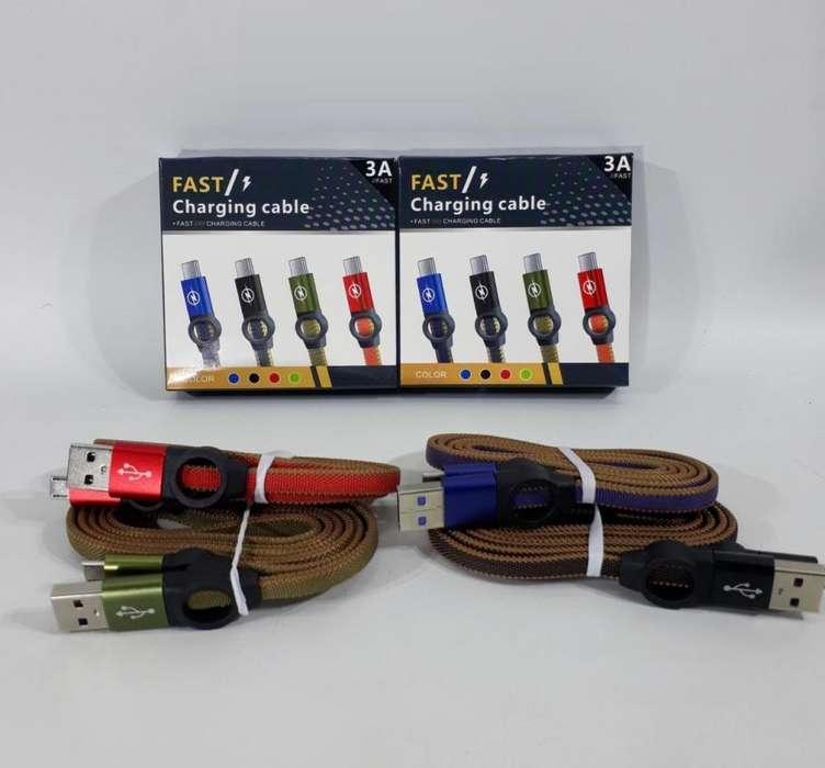Cable USB a MicroUSB 3.0. Carga Rápida y Datos. 3A. Calidad. Tela, Mallado