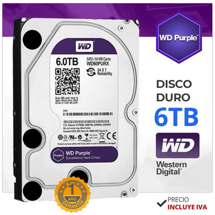 Disco Duro 6tb Purple. Wester <strong>digital</strong>. Dvr. Hikvision. Dahua. CCTV. Quito. Guayaquil.