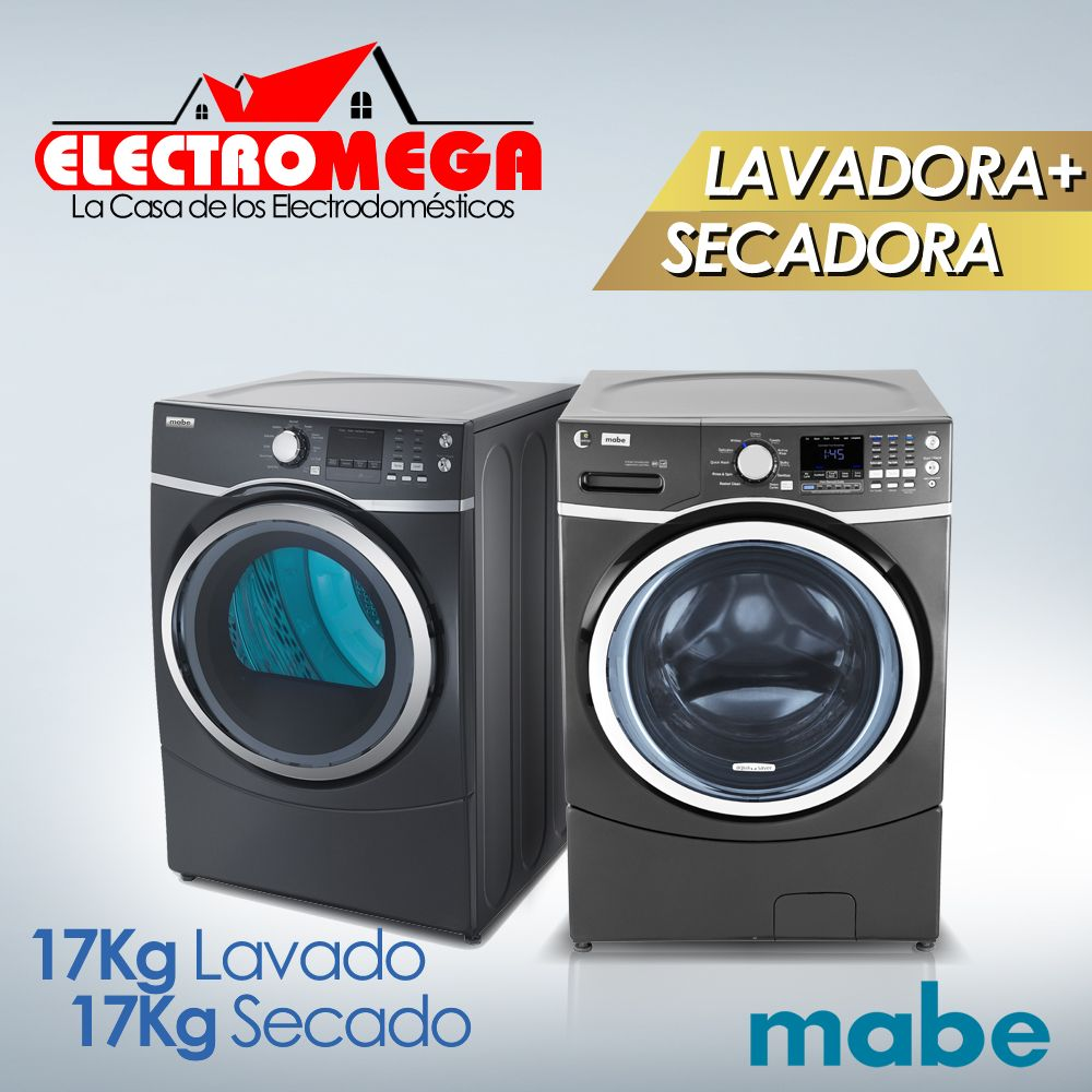 Combo Lavadora  Secadora Electrica Mabe 17 Kg / 37 Lbs
