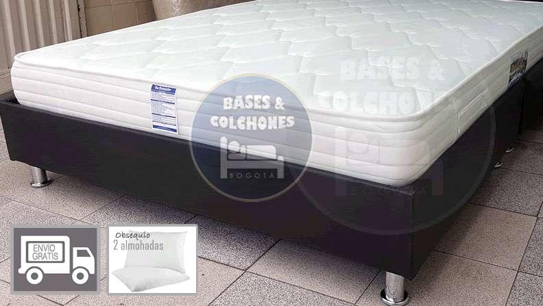 OFERTA! cama doble 1.40x1.90 Colchón ortopédico base almohadas siliconadas domicilio en Bogotá