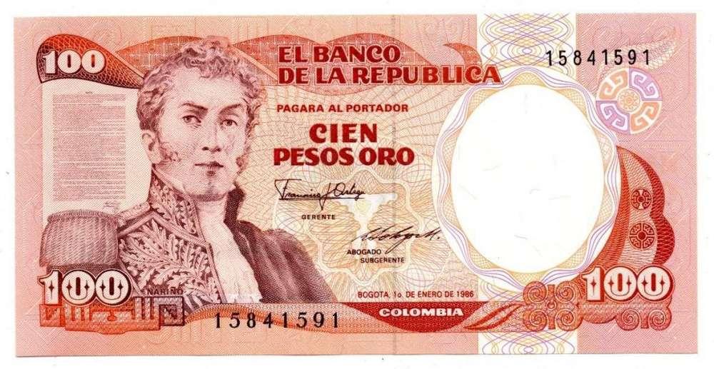 Se vende billete de cien pesos oro