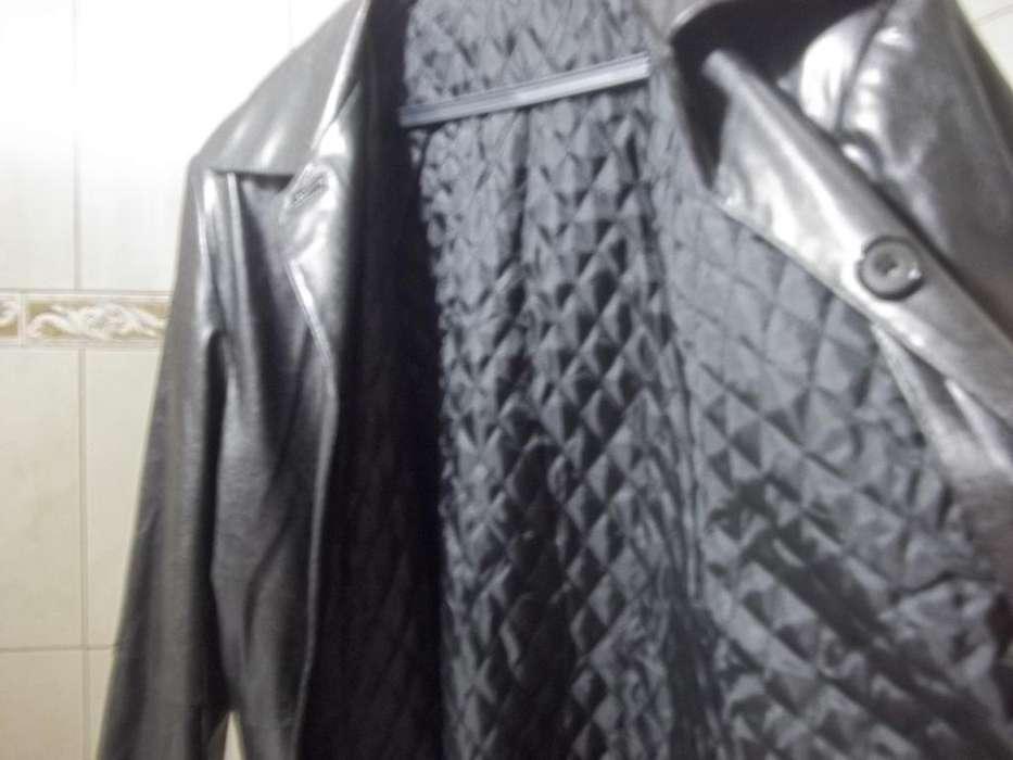 Saco de cuero de mujer, Talle M, color negro, con abrigo <strong>interior</strong>