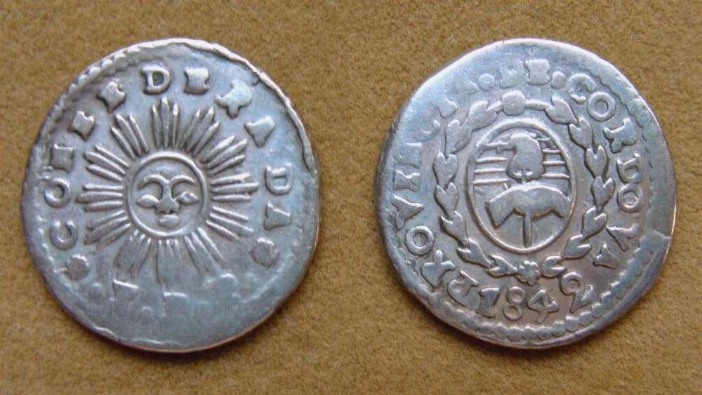 Moneda de 1 de real de plata Pcia. de Córdoba, Argentina 1842