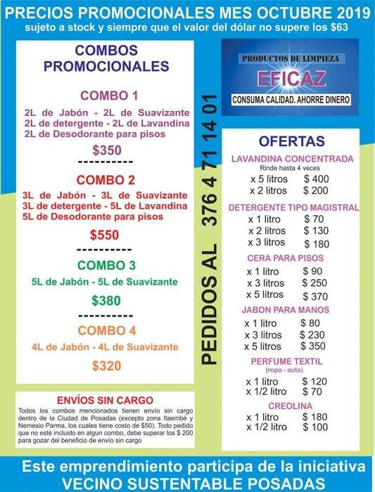 COMBO DE PRODUCTOS DE LIMPIEZA. OFERTAS OCTUBRE 2019