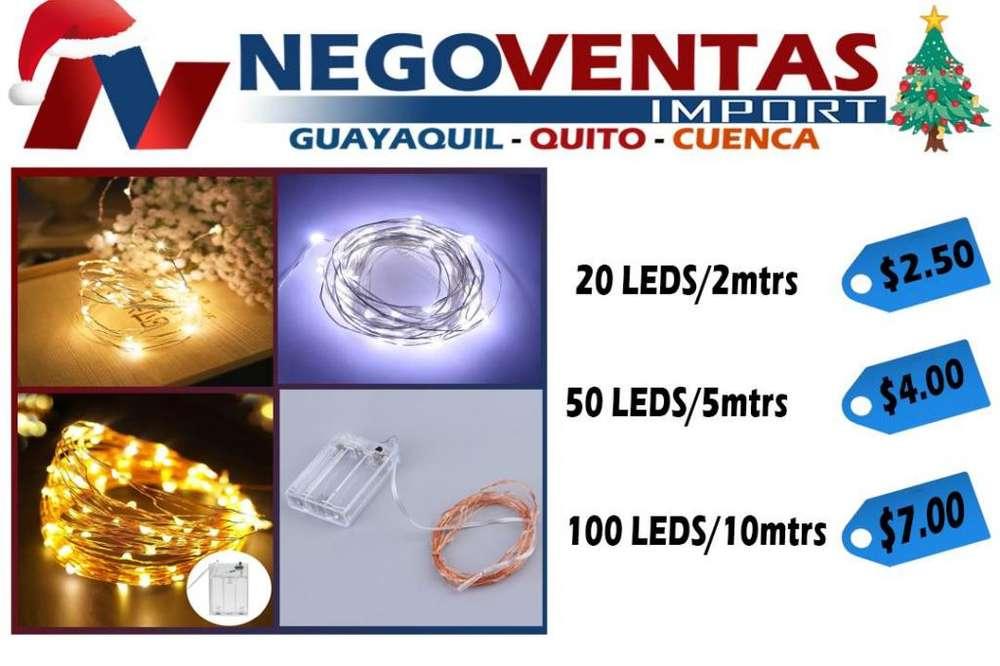 LUCES NAVIDEÑAS TIPO ADAS 20 LED/2 MTS, 50 LED/ 5 MTS, 100 LED/ 10 MTS