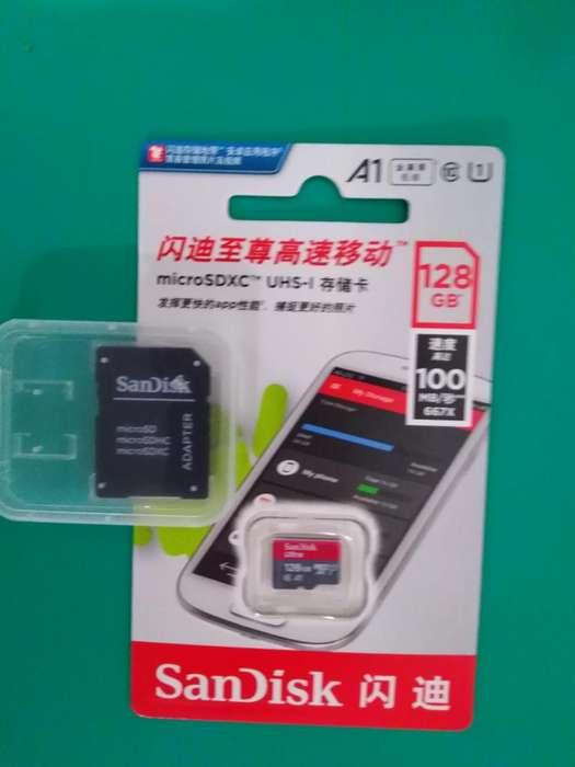 Memoria Micro SD Sandisk Ultra 128 Gb Clase 10 Categoría A1 Velocidad 100 Mbxs