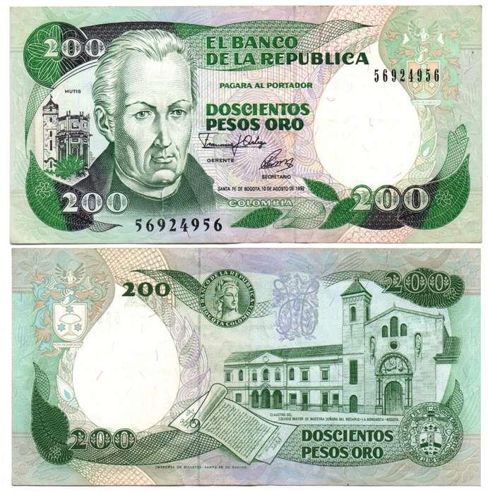 COLOMBIA. BILLETE. 200 PESOS. 1992 AGO 10. ESTADO 8 DE 10. VALOR 1700