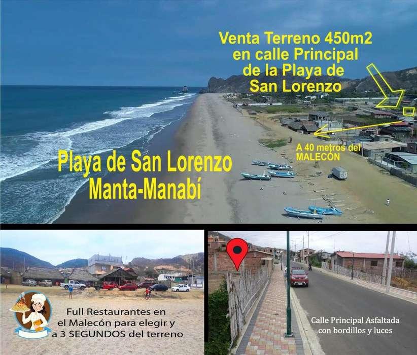 Terreno de <strong>lujo</strong> en La Playa de San Lorenzo de Manta a 40m. del Malecón. Zona Super Turística, Restaurantes y Hoteles