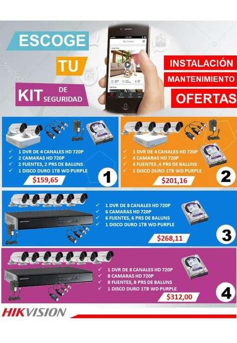 Kit De Camaras De Seguridad Hikvision 720p Hd