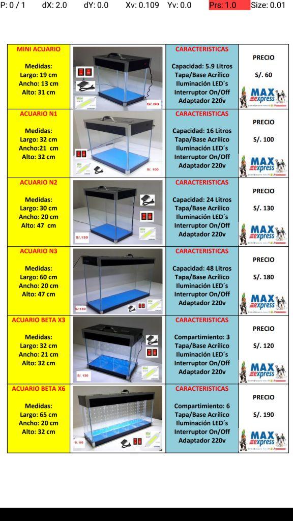 ACUARIO PECERA VARIAS MEDIDAS TAPA/BASE  LUZ LED