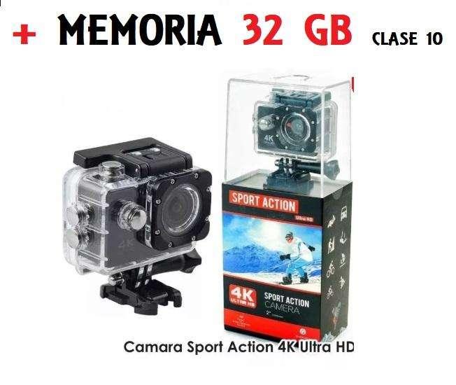Camara Deportiva Acuática Sport Action Ultra Hd 4k Memoria 32 Gb Clase 10