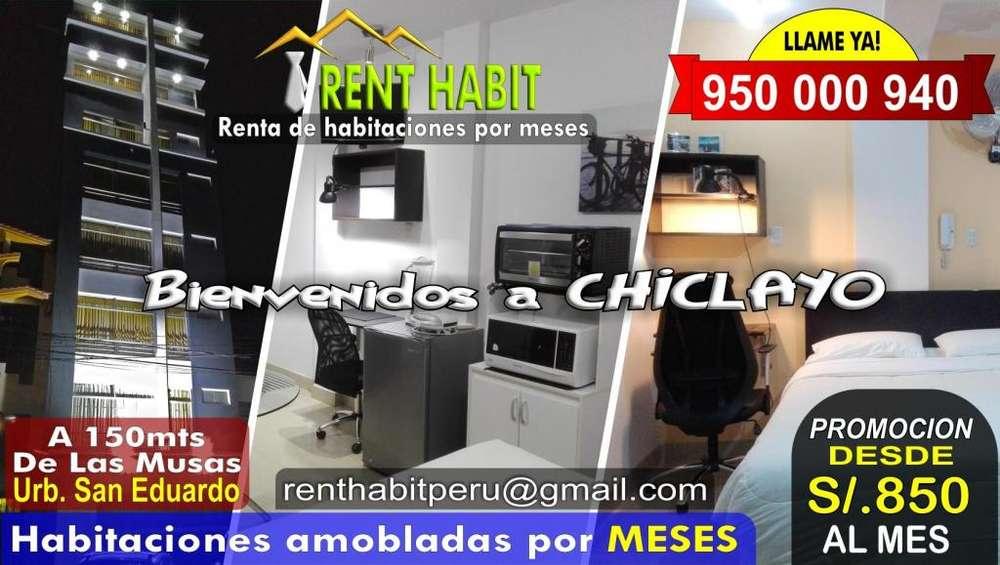 Alquiler de habitaciones amobladas en Chiclayo desde s/850 el mes Telf 950000940 A 150mts de Las Musas