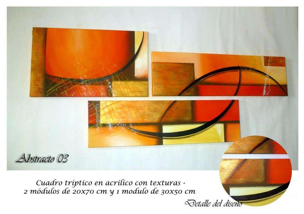 Cuadros pintados a mano, tripticos modernos, abstractos, decorativos y texturados