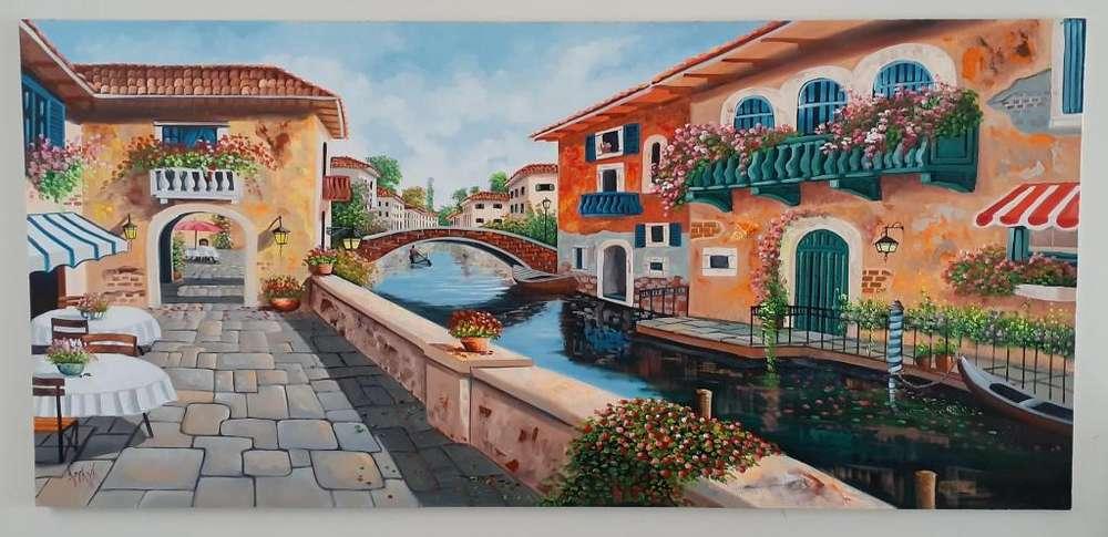 Cuadro Al Oleo, Canal Venecia Calle