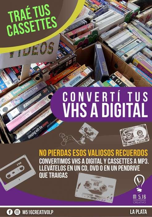 CONVERTIMOS VHS Y CASSETTES A FORMATO DIGITAL