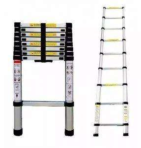 Escalera Aluminio Telescópica Extensible 8 Escalones 2,6 Mts
