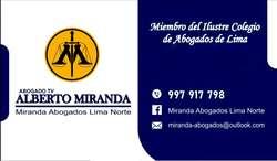 Miranda Abogados Lima Norte - Nacional e Internacional - Llámenos Ahora!  0051- 997-917-798 / Alberto Miranda AbogadoTV