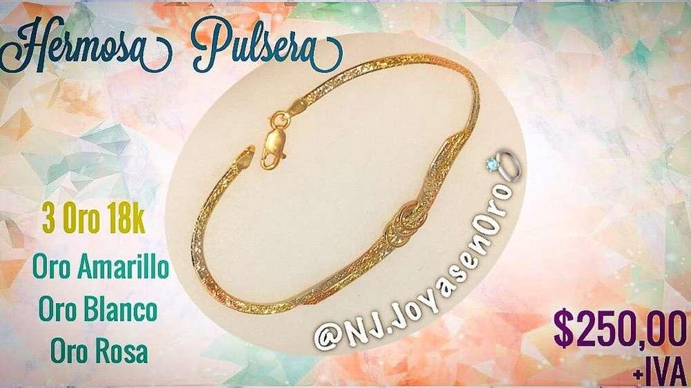 Hermosa Pulsera 3 <strong>oro</strong> 750 (18K)