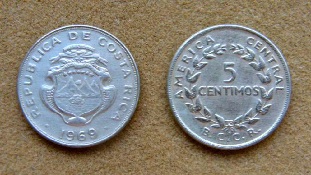 Moneda de 5 céntimos Costa Rica 1969