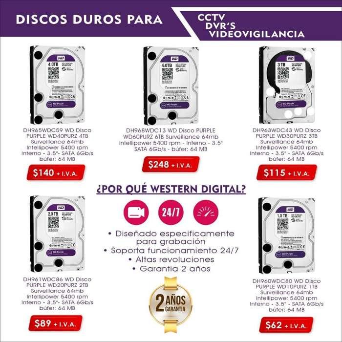 DISCO DURO 1TB 2TB 3TB 4TB 6TB WESTERN DIGITAL PURPLE CAMARAS SEGURIDAD
