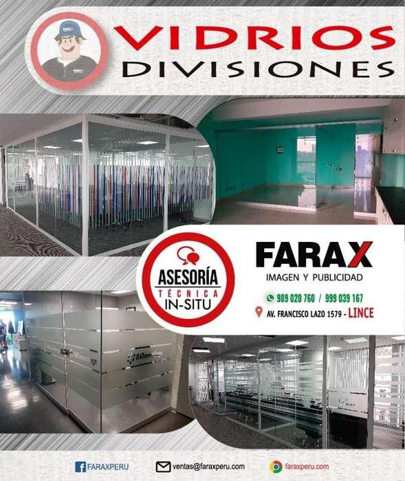 DIVISIONES DE VIDRIO, DRYWALL PARA OFICINA Y MOBILIARIO DE MELAMINE