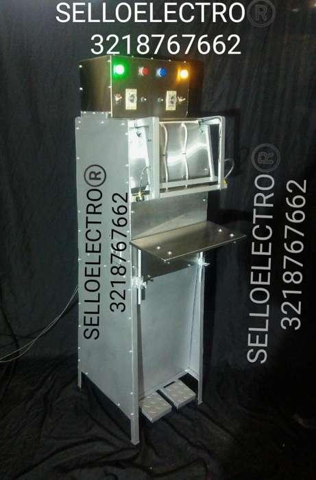 Maquina empacadora al vacío, selladora vertical sello de 6 milímetros, temporizada de impulso.
