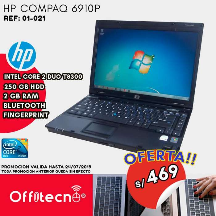 LAPTOP HP COMPAQ 6910P, CENTRINO CORE 2 DUO, 2 GB RAM, 250 GB DISCO DURO
