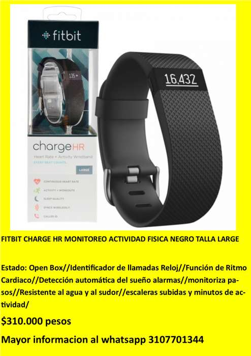 FITBIT CHARGE HR MONITOREO ACTIVIDAD FISICA NEGRO TALLA LARGE