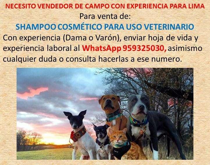 NECESITO VENDEDOR DE CAMPO CON EXPERIENCIA PARA LIMA, Para visitas a clínicas veterinarias