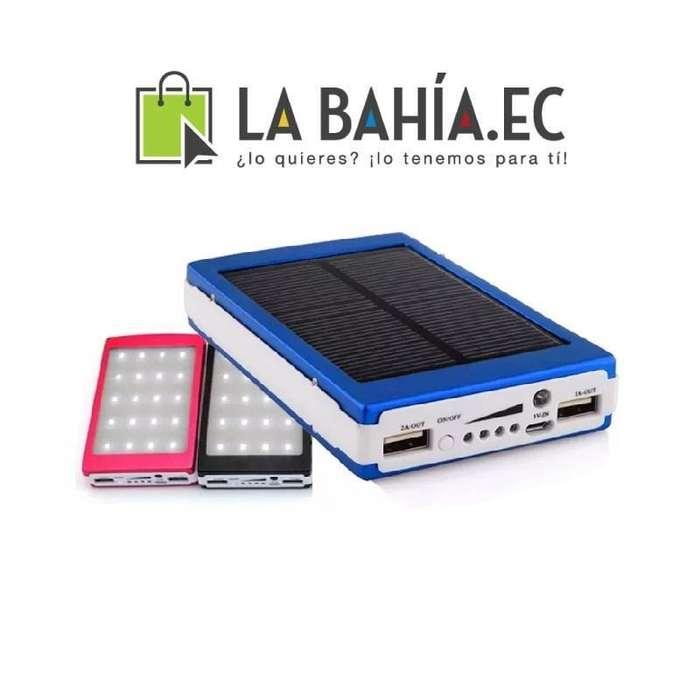 Cargador solar con linterna LED y 2 puertos USB