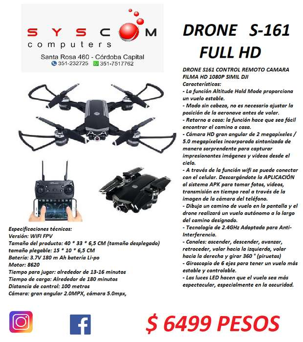 DRONE S161 CON CAMARA FULL HD MOVIMIENTO Y FPV