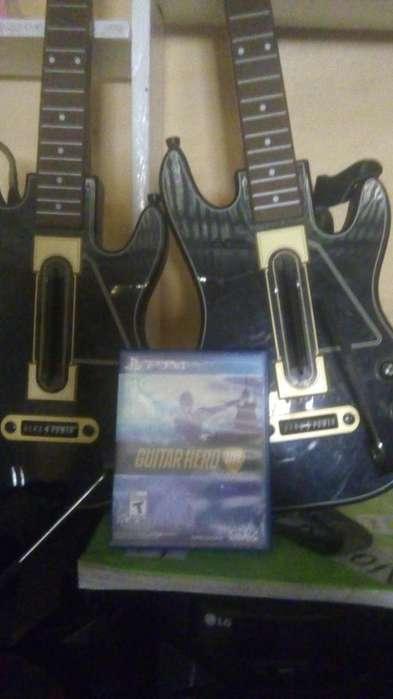 Vendo juego ps4 mas dos guitarras electricals del mismo juegosen buen