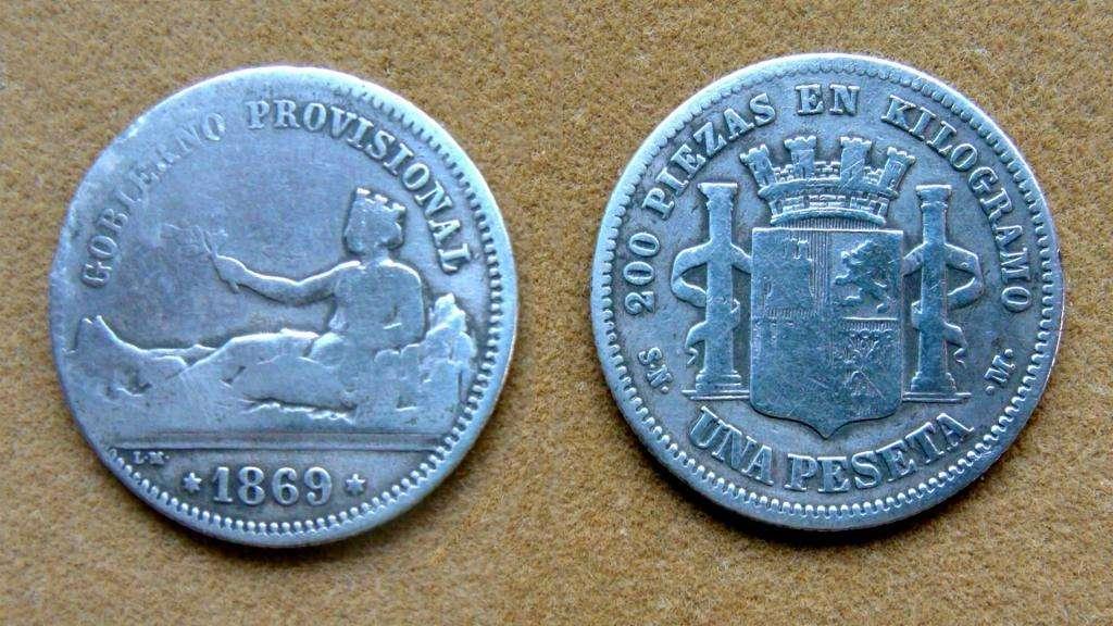Moneda de 1 peseta de plata, España 1869