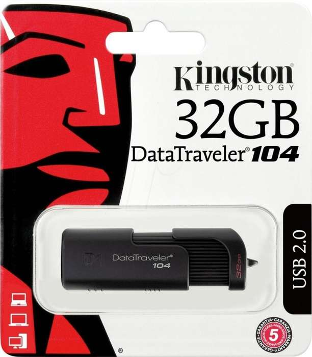 PENDRIVE 32GB KINGSTON DT104 USB 2.0 3.0 3.1 ORIGINAL
