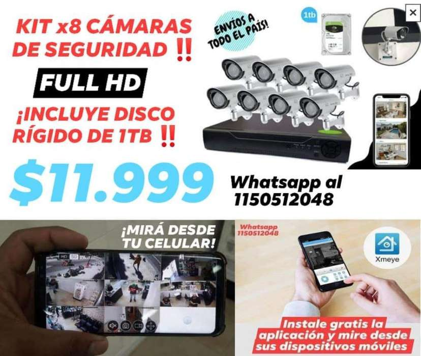Kit X8 Cámaras Full Hd Disco Rígido