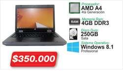 ECONOMICO PORTATIL HP PROBOOK 6475B MEMORA DE 4GB DISCO DURO 250GB PANTALLA 14 HDMI