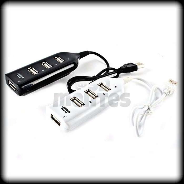 HUB USB 4 PUERTOS EXTENSIÓN MULTIPLICADOR ADAPTADOR USB 2.0
