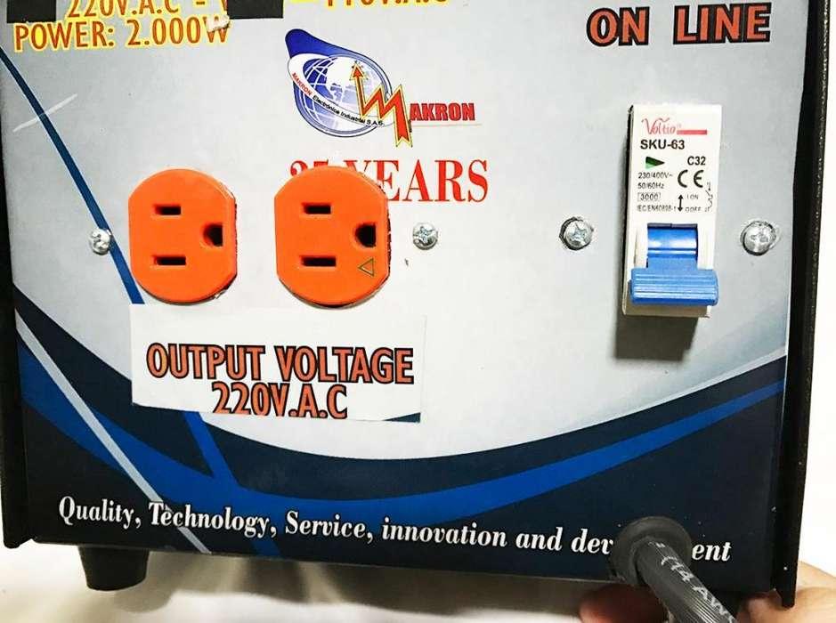 Elevador doblador de voltaje Makron - Entrada 110V - Salida 220V 2000W
