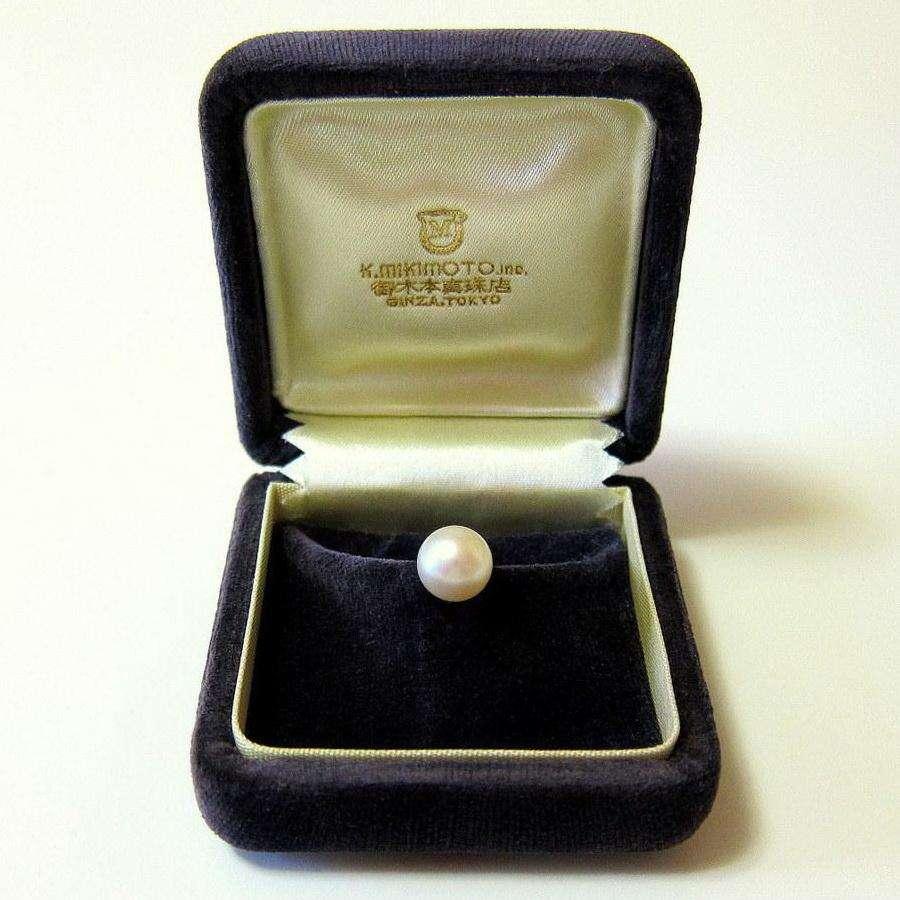 Antiguo pin de corbata Mikimoto perla cultivada y oro 14k / Maxim Nord
