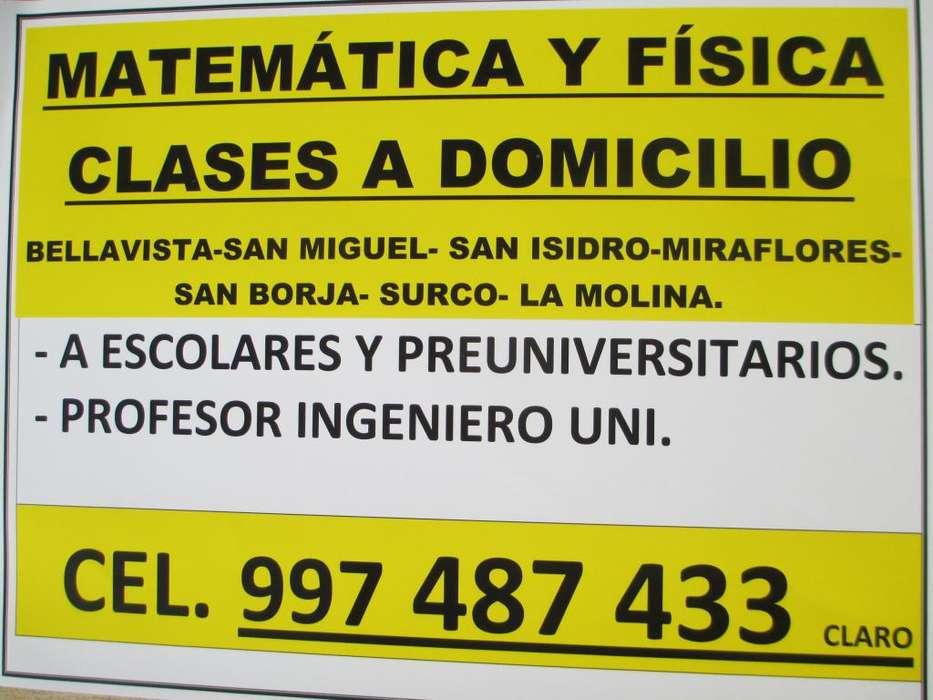 MATEMÁTICA Y FÍSICA CLASES A DOMICILIO A ESCOLARES Y POSTULANTES.