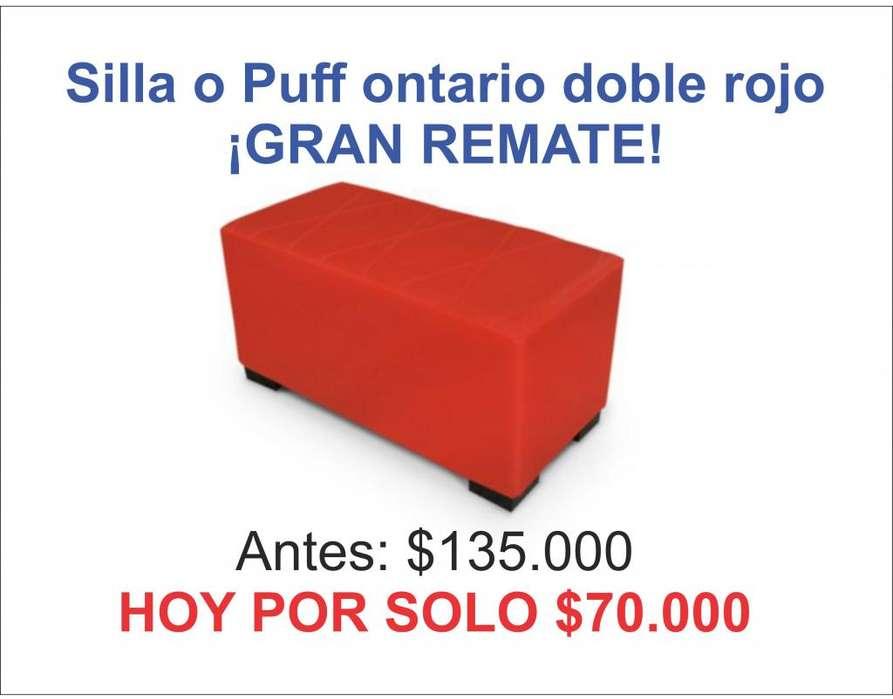 <strong>silla</strong> o Puff Ontario Doble Rojo ¡GRAN REMATE!