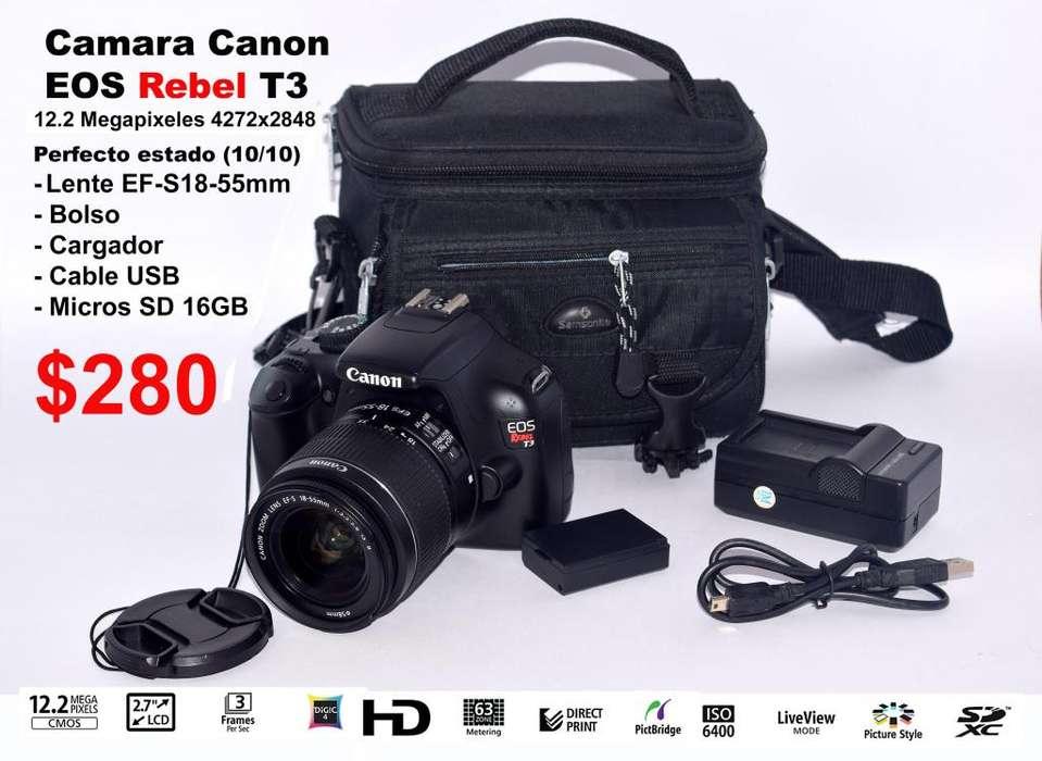 Camara Canon EOS Rebel T3 como nueva