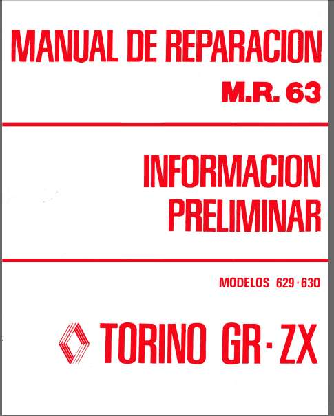 TORINO 629-630 MANUAL DE REPARACION INFORMACION PRELIMINAR