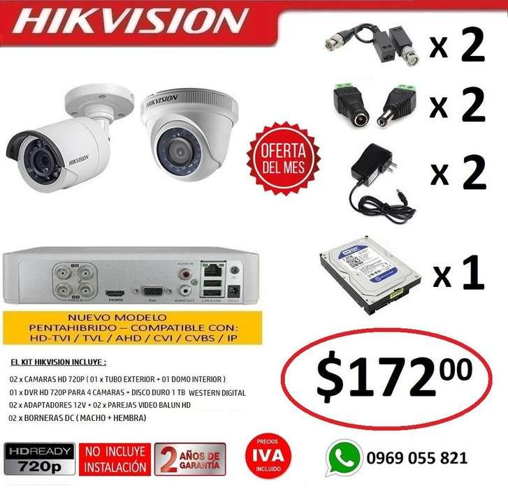 Combo 2 Camaras Seguridad Vigilancia Hd 720p Original Hikvision DVR 4 Camaras HD 720P