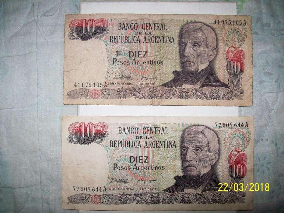 Billetes de 10 Pesos Argentinos x2 19831987