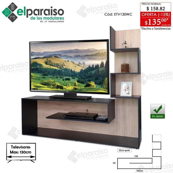 Mesas bases televidores, 2 tamaños para TV hasta 65 y 68pulg. dif colores. modulares. librero estante